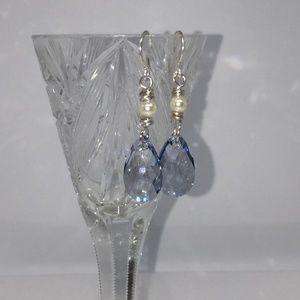 Jewelry - Denim Blue Crystal and Pearl Drop Earrings